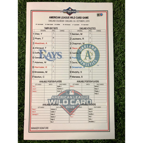 Photo of Wild Card Replica Lineup Card - October 2, 2019 at OAK