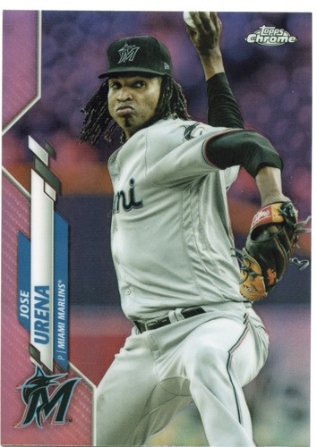 Photo of 2020 Topps Chrome Pink Refractors #185 Jose Urena