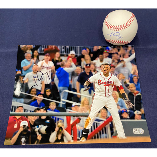 Photo of Johan Camargo Autographed Baseball and Photo - Photo Autographed by Ozzie Albies and Johan Camargo