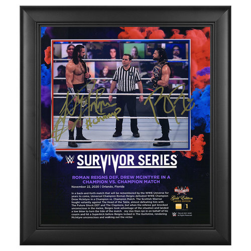 Photo of Roman Reigns and Drew McIntyre SIGNED Survivor Series 2020 WrestleMania Gold Edition Plaque (#1 of 1)