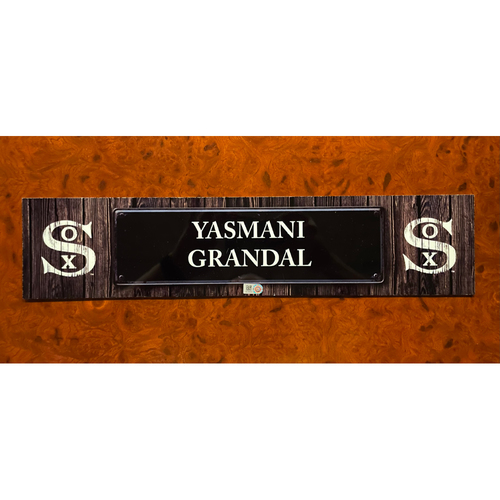 Photo of Yasmani Grandal Team Issued Locker Nameplate (small) - August 12, 2021 - Dyersville, Iowa