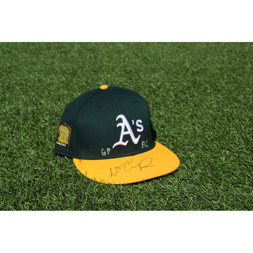 Photo of Oakland Athletics Game Used Autographed Matt Chapman 50th Anniversary Cap