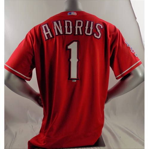 Photo of Game-Used Red Jersey - Elvis Andrus - 3/30/19