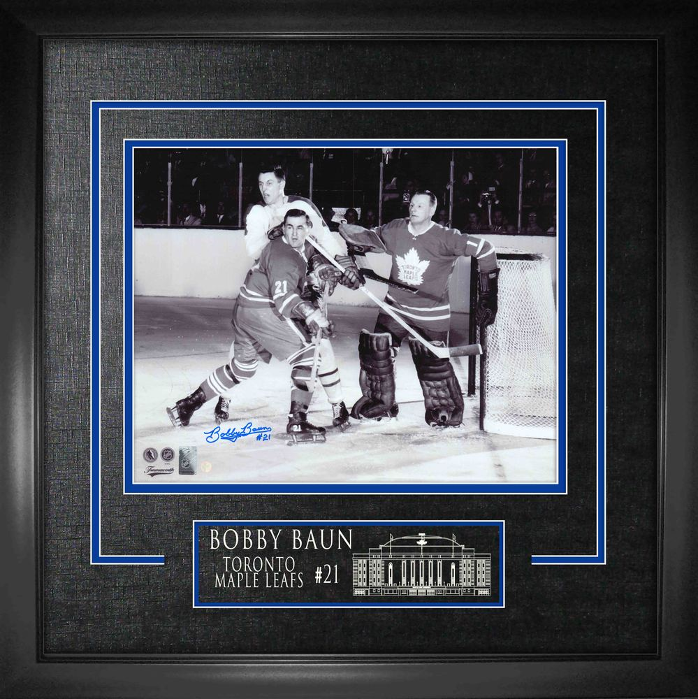 Bobby Baun Signed 16x20 Etched Mat Leafs B/W w Bower and Beliveau