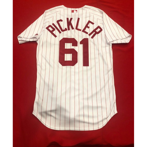 Photo of Jeff Pickler -- 1967 Throwback Jersey & Pants -- Game-Used for Rockies vs. Reds on July 28, 2019 -- Jersey Size: 42 / Pants Size: 33-36-17