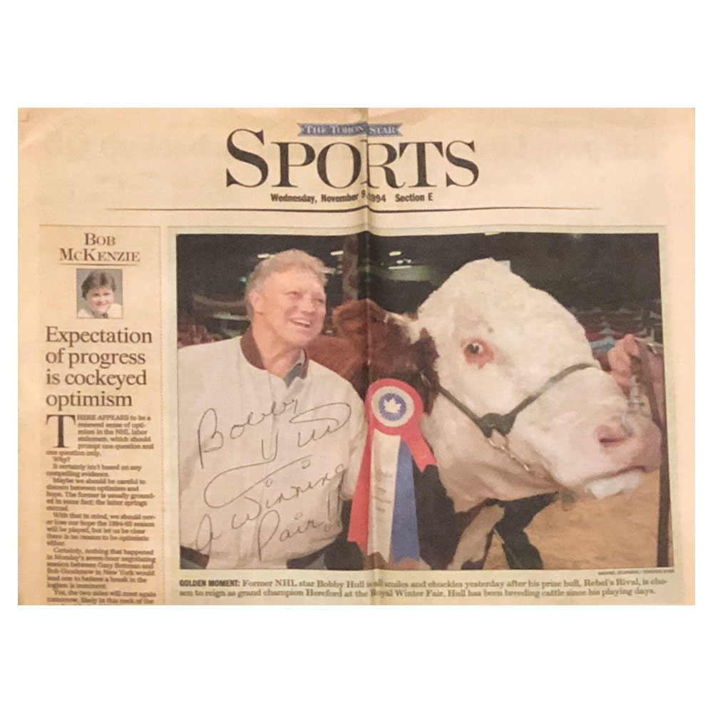 Bobby Hull Autographed The Toronto Star November 1994 Sports Section