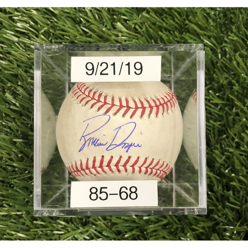Photo of Win #85: 9/21/2019 Game-Used Baseball - Autographed by Brian Dozier