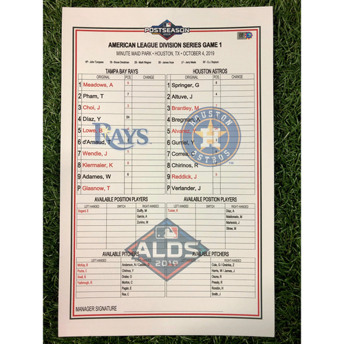 Photo of ALDS Game 1 Replica Lineup Card: Justin Verlander (W, 7.0IP, 8 SO), Austin Meadows (1-2, 2B, RBI) and Jose Altuve (1-5, HR, R, 2RBI) - October 4, 2019 at HOU