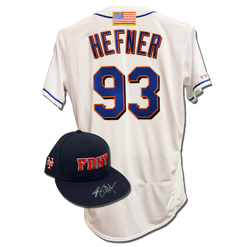 Photo of Jeremy Hefner #93 - Autographed Game Used First Responder Hat and Game Used White Commemorative Jersey with American Flag Patch - Mets vs. Yankees - 9/11/2021