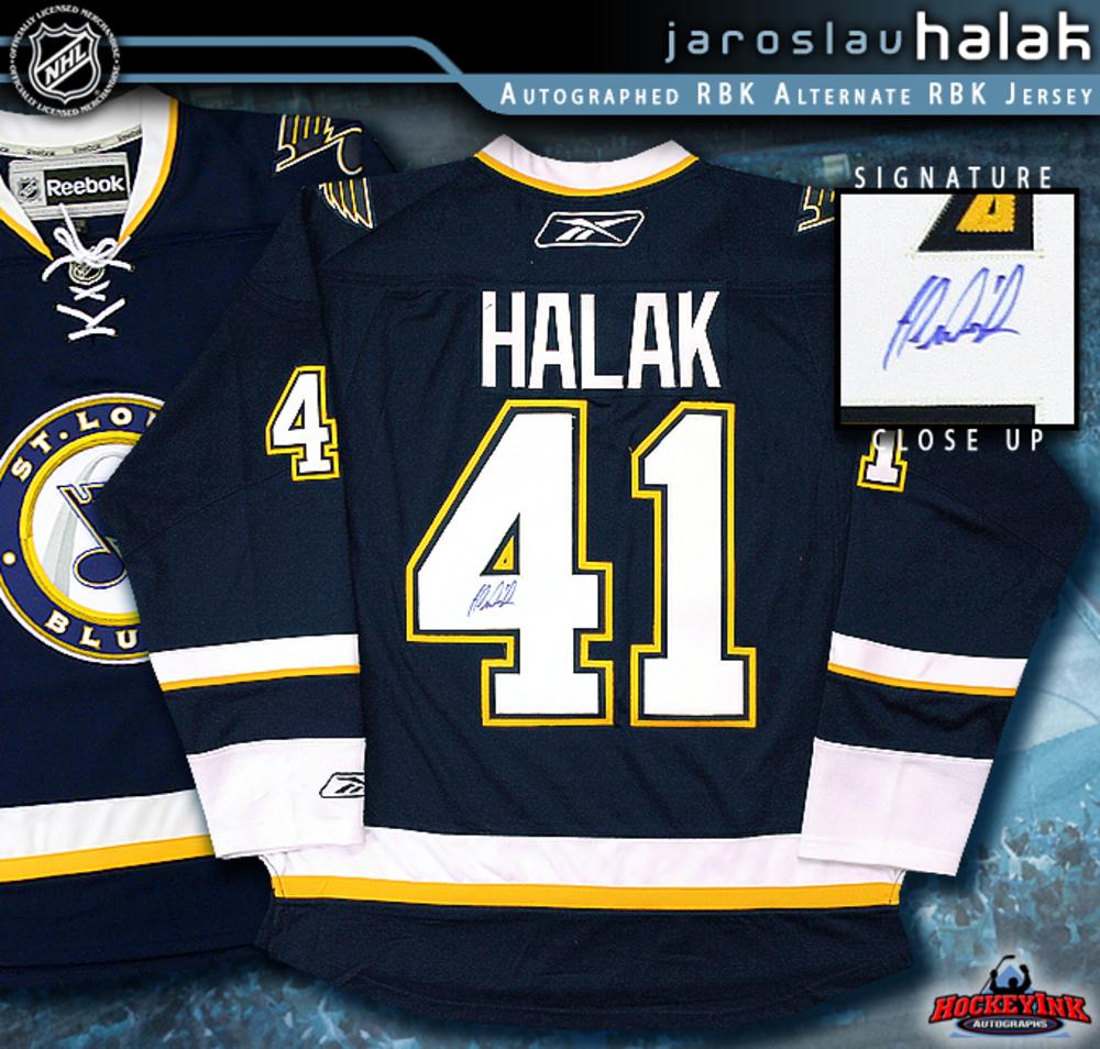 JAROSLAV HALAK Signed St. Louis Blues RBK Premier Blue Jersey - 3rd Jersey