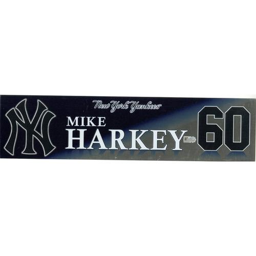 Photo of Mike Harkey New York Yankees 2017 Game-Used #60 Locker Room Nameplate (10/1/2017)
