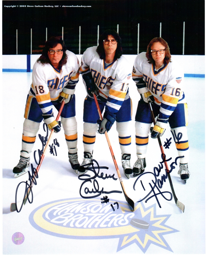 Hanson Brothers - Signed 8x10 Photo Charleston Chiefs White Pose On Ice