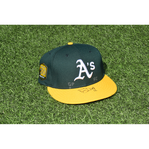 Photo of Oakland Athletics Game Used Autographed Ryan Dull 50th Anniversary Cap