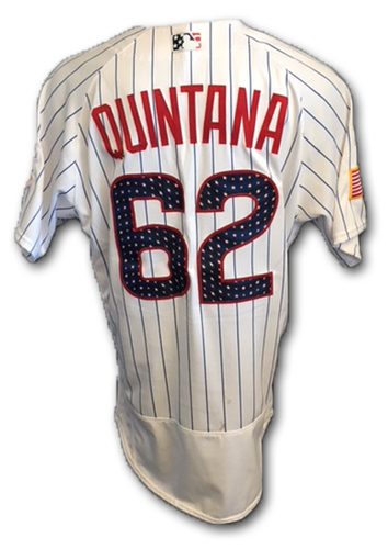 Photo of Jose Quintana Stars and Stripes Game-Used Jersey -- Quintana 7th Win (6 IP, 2 ER, 4 K) -- Tigers vs. Cubs -- 7/4/18