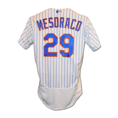 Photo of Devin Mesoraco #29 - Game Used White Pinstripe Jersey - Mets vs. Marlins - 9/29/2018