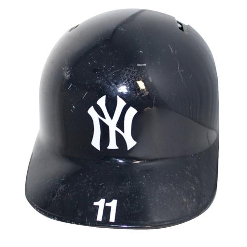 Photo of Brett Gardner New York Yankees 2018 Game Used #11 Home Batting Helmet (10/9/2018)