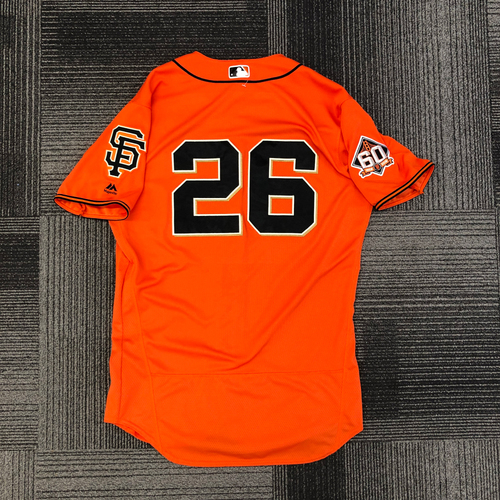 Photo of 2018 Game-Used Orange Home Alt Jersey worn by #26 Chris Shaw on 8/31 vs. New York Mets - MLB DEBUT - 1st Career RBI & 9/28 vs. Los Angeles Dodgers