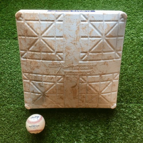 Photo of Game-Used 1st Base and Baseball: Mike Trout 1,211 Career Hit (LAA @ KC - 4/28/19 - 1st Base Innings 1-5)