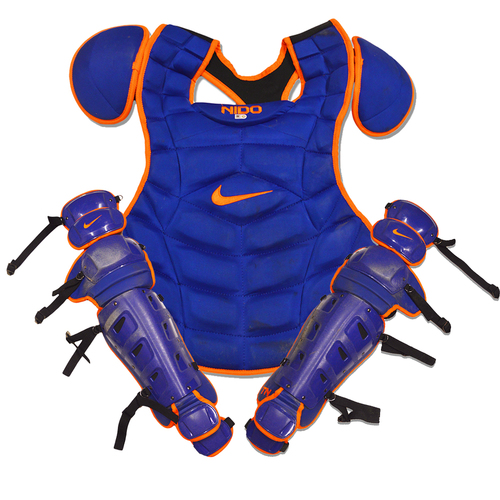 Photo of Tomas Nido #3 - Team Issued Blue and Orange Nike Catcher's Gear - 2018 Season