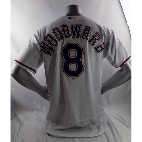Photo of Game-Used White Opening Day Jersey - Chris Woodward - 3/28/19