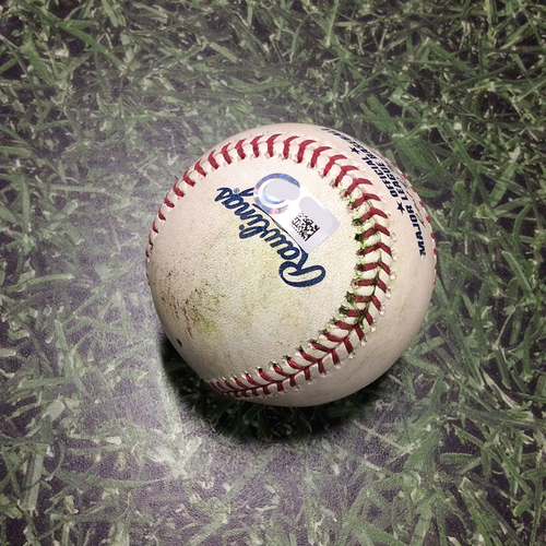 Photo of Game-Used Baseball STL@MIL 03/29/19 - Jack Flaherty - Mike Moustakas: Double