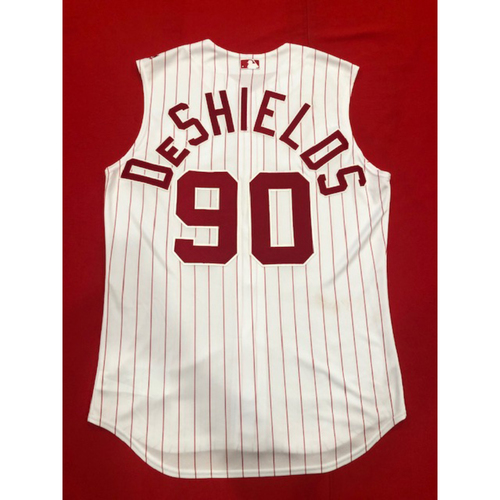 Delino DeShields -- Game-Used 1995 Throwback Jersey & Pants -- D-backs vs. Reds on Sept. 8, 2019 -- Jersey Size 46 / Pants Size 37-44-35