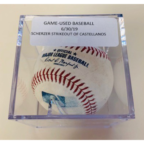 Game-Used Baseball: Max Scherzer Strike Out of Nicholas Castellanos