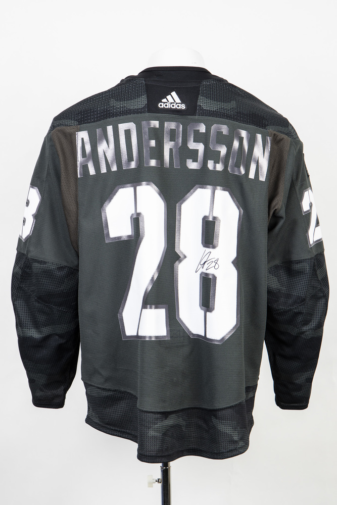 Veterans Night warm up jersey worn and signed by #28 Lias Andersson
