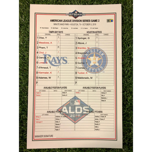 Photo of ALDS Game 2 Replica Lineup Card: Gerrit Cole (W, 7.2IP, 15 SO) and Alex Bregman (2-4, HR, 2R, RBI) - October 5, 2019 at HOU