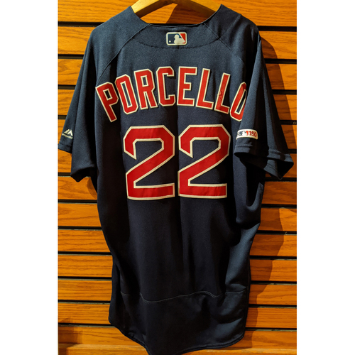 Photo of Rick Porcello #22 Game Used Navy Road Alternate Jersey