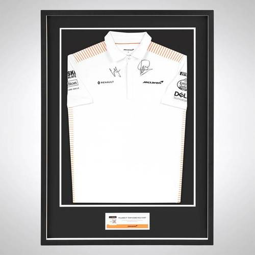 Photo of Lando Norris & Carlos Sainz 2020 Signed McLaren Polo Shirt