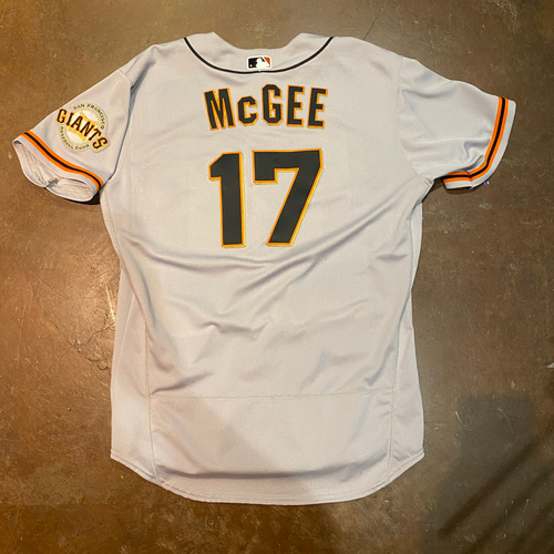 Photo of 2021 Game Used Road Jersey worn by #17 Jake McGee on 4/1/21 @ SEA - Opening Day - 1.0 IP, 1 K - Size 48