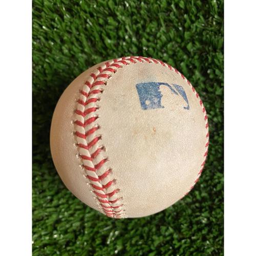 Photo of Austin Riley Hit Single Baseball off Chris Paddock - July 21, 2021 Game 1