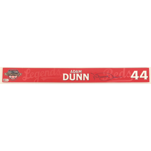 Adam Dunn - Game-used and Autographed Locker Name Plate: 2021 Cincinnati Reds Hall of Fame Legends Game