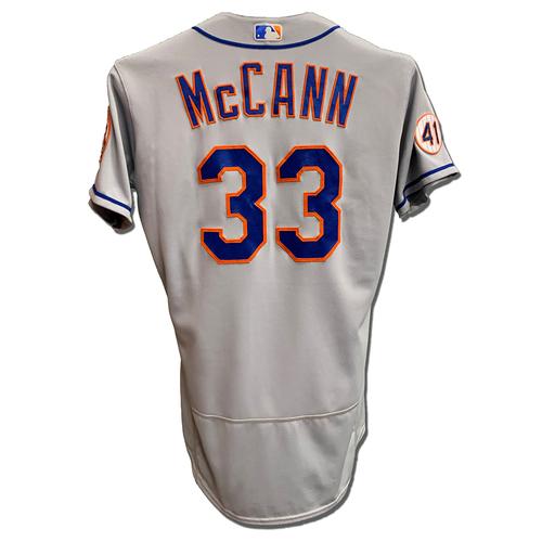 Photo of James McCann #33 - Game Used Road Grey Jersey - McCann Goes 1-4, RBI - Mets vs. Phillies - 4/5/21