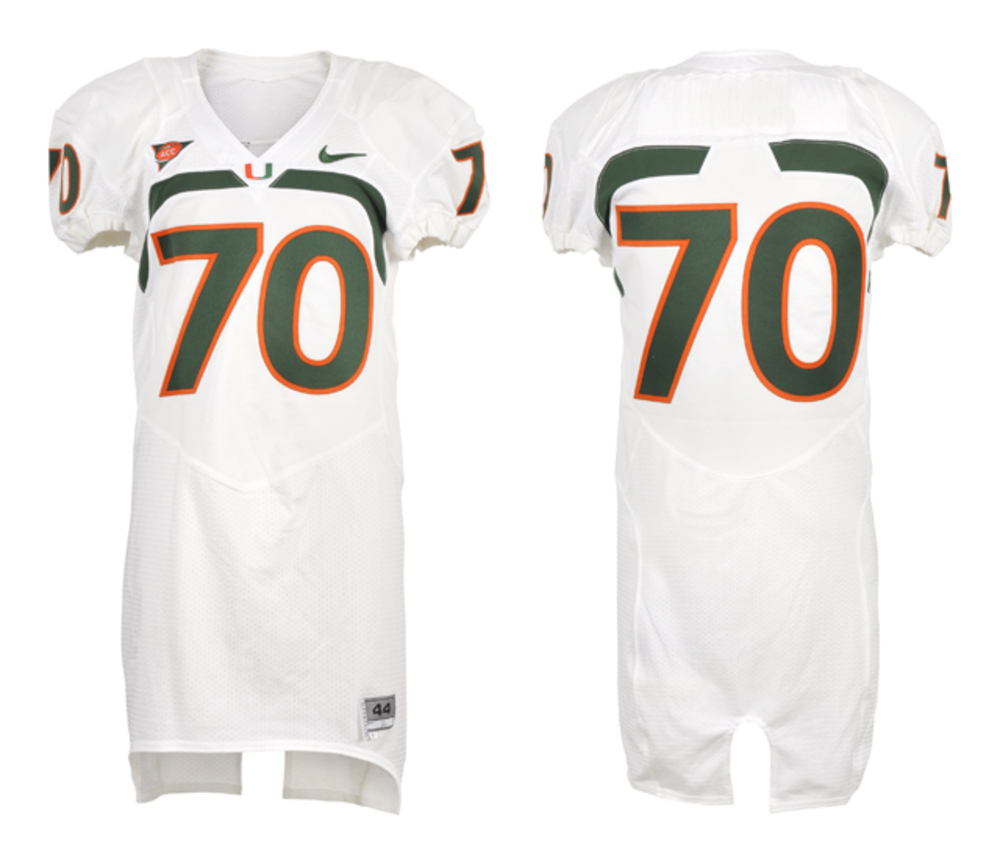 Miami Hurricanes Game-used #70 White Football Jersey