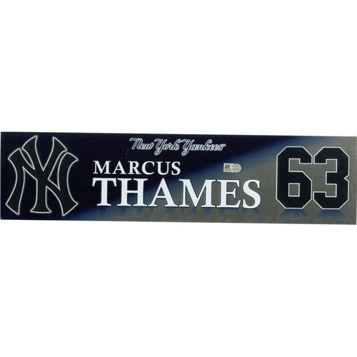 Photo of Marcus Thames New York Yankees 2017 Game-Used #63 Locker Room Nameplate (10/1/2017)