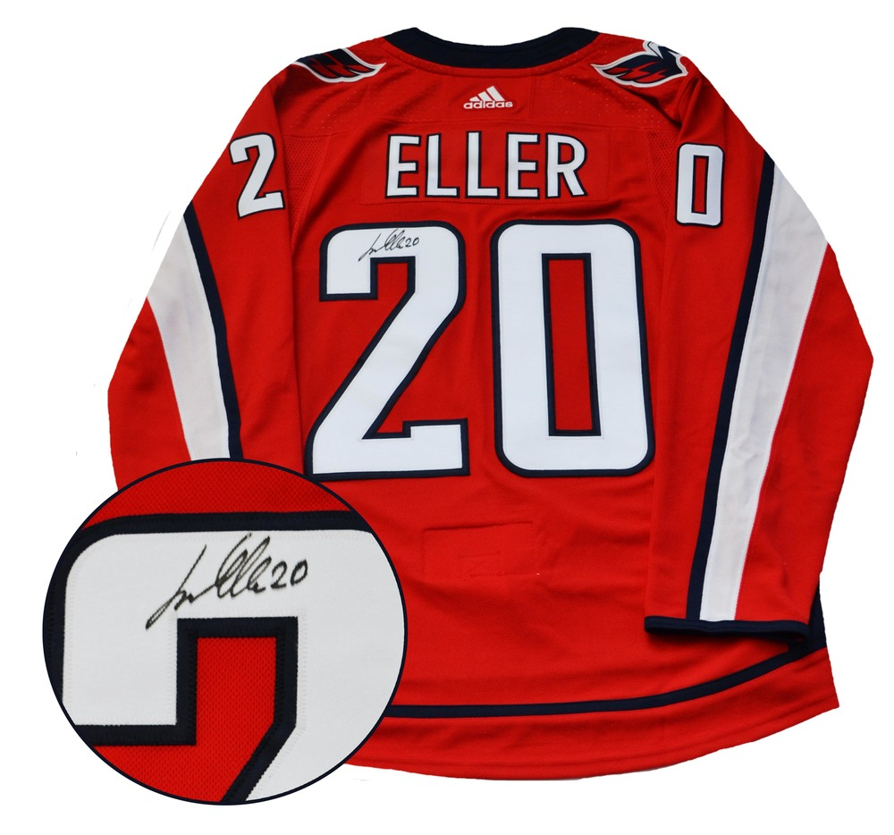 Lars Eller Signed Jersey Capitals Pro Red 2017-2019 Adidas