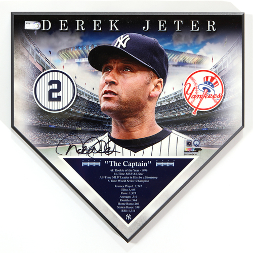 Photo of Derek Jeter Autographed New York Yankees Commemorative Home Plate