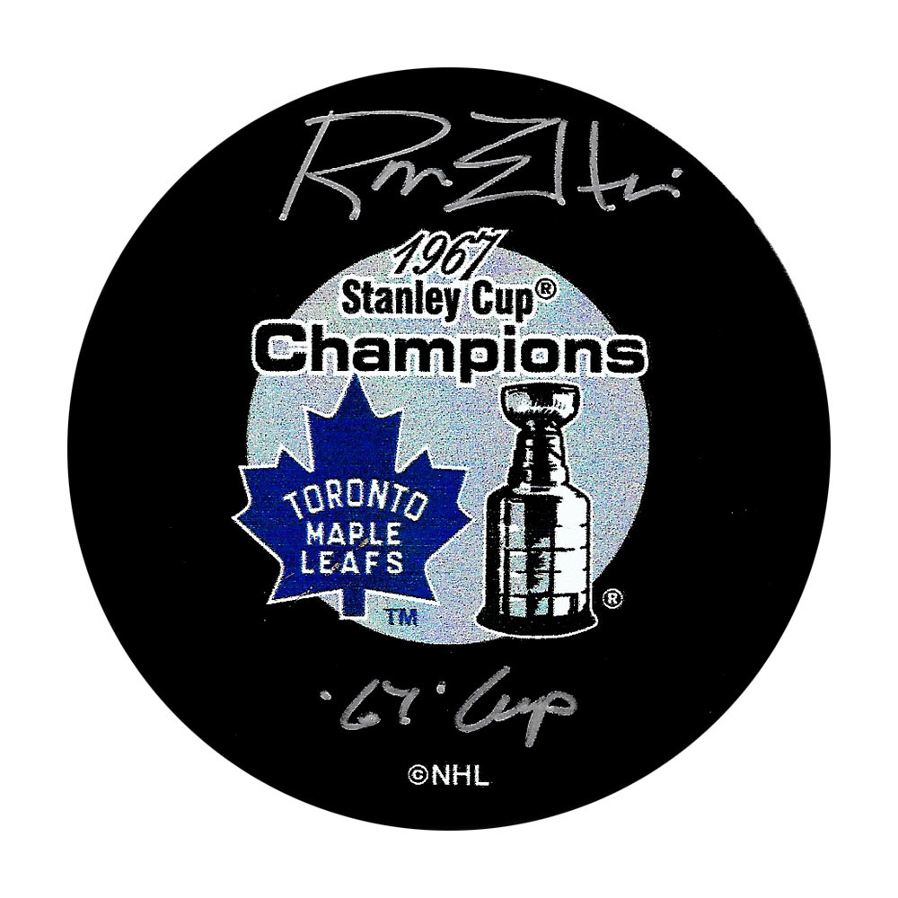 Ron Ellis Autographed Toronto Maple Leafs 1967 Stanley Cup Champions Puck w/67 CUP Inscription
