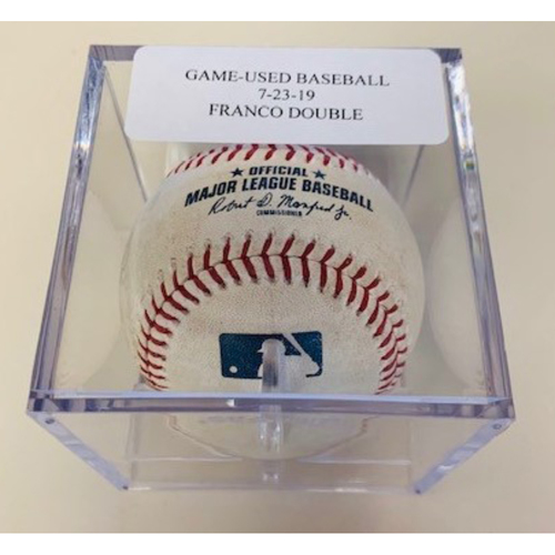 Game-Used Baseball: Maikel Franco Double