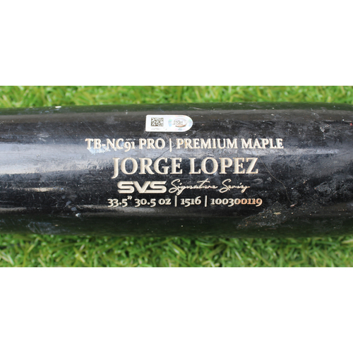 Photo of Game-Used Bat: Jorge Lopez - Pop Out (KC @ MIA - 9/6/19)