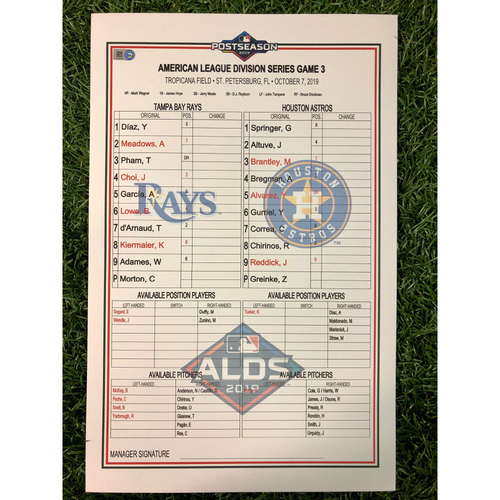 Photo of ALDS Game 3 Replica Lineup Card: Charlie Morton (W, 5.0IP, 9 SO) and Kevin Kiermaier (1), Ji-Man Choi (1), Brandon Lowe (1), Willy Adames (1) and Jose Altuve (2) Home Runs - October 7, 2019 v HOU