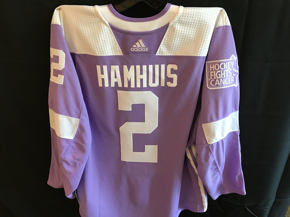 Dan Hamhuis Warm-Up Worn Hockey Fights Cancer Jersey