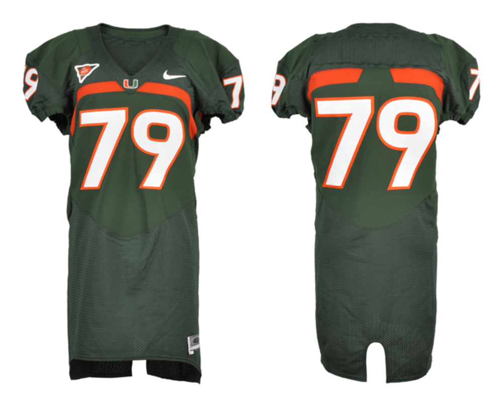 Miami Hurricanes Game-used #79 Green Football Jersey