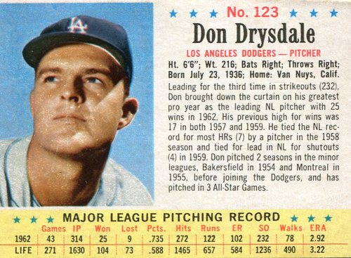 Photo of 1963 Post #123 Don Drysdale  -- Scrapbook residue on back -- Hall of Fame Class of 1984
