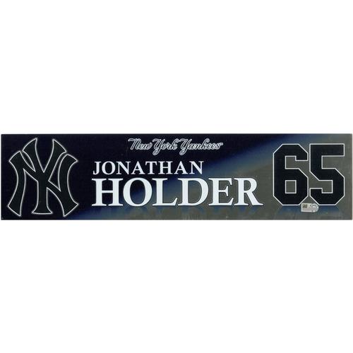 Photo of Jonathan Holder New York Yankees 2017 Game-Used #65 Locker Room Nameplate (10/1/2017)