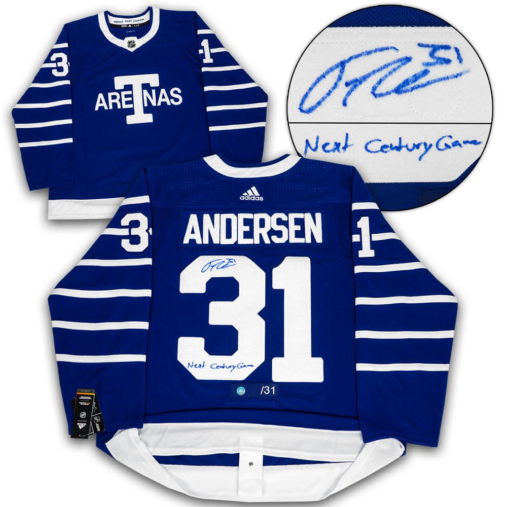 Frederik Andersen Toronto Arenas Signed & Noted Next Century Game Adidas Jersey #/31