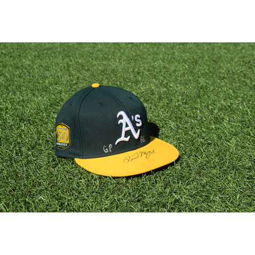 Photo of Oakland Athletics Game Used Autographed Daniel Mengden 50th Anniversary Cap