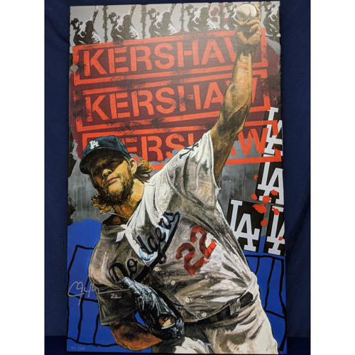 Photo of Kershaw's Challenge: Clayton Kershaw Canvas by Stephen Holland, Signed by Both
